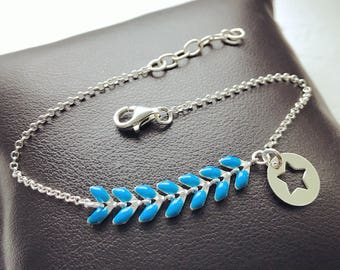 Bracelet blue spike with chain and 925 Sterling Silver Star
