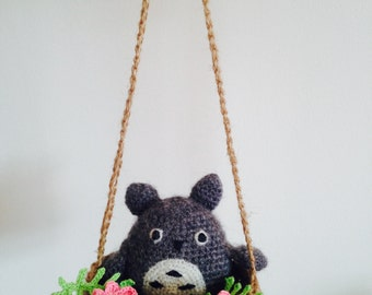 Crochet Totoro Doll in Basket with flowers, Totoro decoration