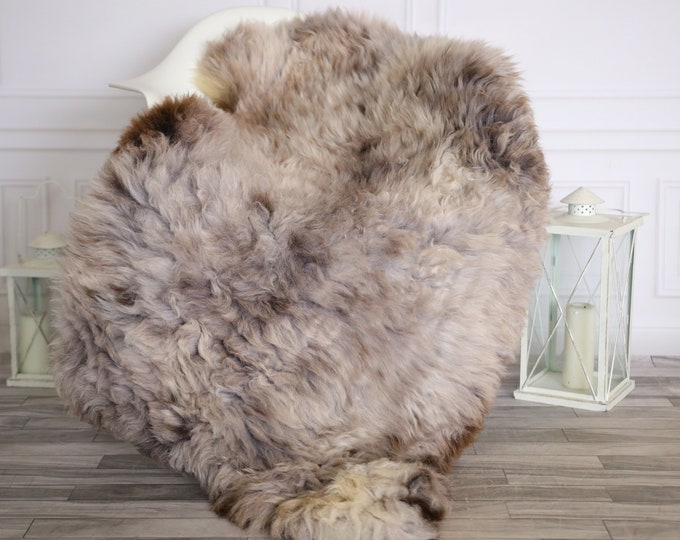 Sheepskin Rug   Real Sheepskin Rug   Shaggy Rug   Chair Cover   Sheepskin Throw   Brown Gray Sheepskin   Home Decor   #HERMAJ34
