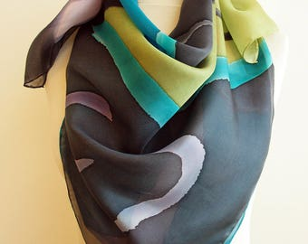Silk scarf Handpainted- Hand Painted square Silk Scarf Black-Blue-Pink-Green Silk Square Scarf- Giveaways -Gifts for her- 35x35in. (90x90cm)