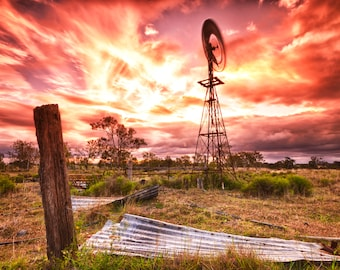 Country Windmill Stock Photo