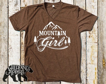 NEW ~ Mountain Girl Tee V-Neck Tee ~ Available In 3 Styles and Vintage Colors