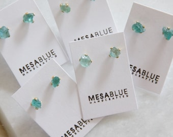 Fluorite Nugget, Tiny, Post Earrings, Rough Studs