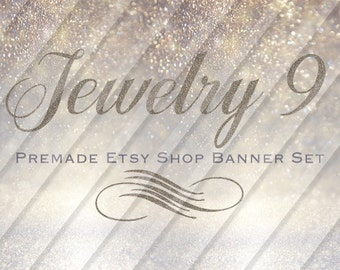 """Etsy Shop Banner Set - Graphic Banners - Branding Set - """"Jewelry 9"""""""