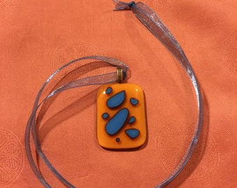 Fused Glass Jewelry - Fused glass necklace; rectangular persimmon orange/royal blue fused glass pendant. Free shipping. (P02)