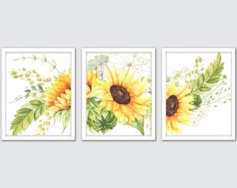 Watercolor Sunflower Prints, Sunflower Wall Print Set, Kitchen Decor Yellow, Sunflower Painting, Sunflower Room Decor, Sunflower Wall Art