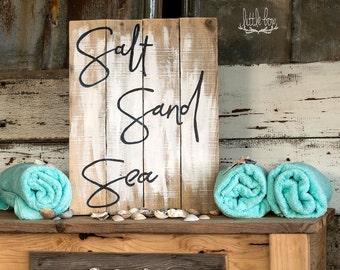 Salt, Sand & Sea Sign / Beach Decor / Beach Sign / Ocean / Bathroom Sign / Nautical / Wood Sign / Ocean Decor / Beach Sign / Home Decor