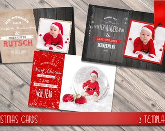 3 Christmas wards templates / Christmas cards with Word arts