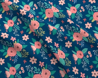 Blue Floral Fabric - Vintage Antique Floral Flowers On Navy Blue By Caja Design - Navy Cotton Fabric By The Yard With Spoonflower