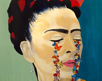 ButterflyCry hand finished portrait of Frida Kahlo