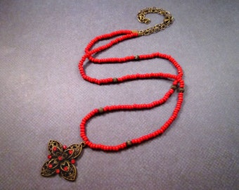 Rhinestone Flower Cross Necklace, Red Wood and Glass Stone Necklace, Brass Pendant Necklace, FREE Shipping U.S.
