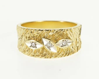 14k Diamond Inset Two Tone Textured Band Ring Gold