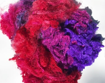 Hand Dyed Silk Mulberry Throwster Fiber for Felting, Spinning, Knitting. PURPLE and PINK.