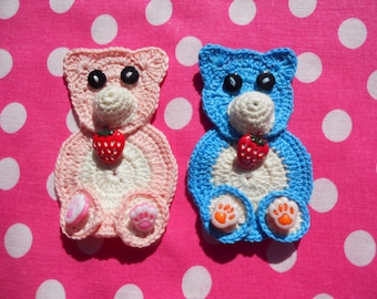 """PATTERN - The crochet applique """"The crochet blue and pink bears"""", download PDF-file"""