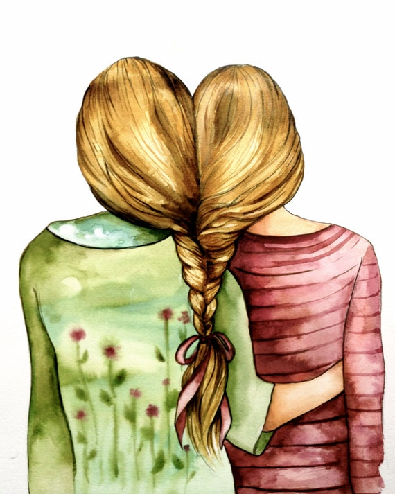 Two  sisters best friends  with blonde hair art print