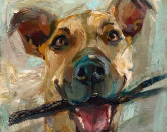 TROPHY - HAPPY DOG, portrait of a dog, portrait,  original oil, pit bull, dog, painting