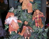 Primitive Christmas Ornie Pattern Holiday Ornaments Simple Ornies Snowman Santa Angel