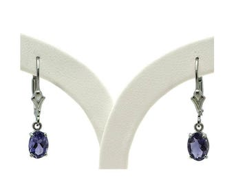 Sterling Silver Iolite Lever Back Earrings