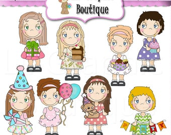 The Birthday Girl 2018 Clip Art Set OOAK Graphics Clipart Digital scrapbooking clipart printables card making Whimsical Inklings