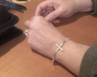 Sterling Silver Sideways Cross Bracelet, Handforged, Metalcraft, Witness Jewelry, For Her,  Gifts Under 25 Dollars