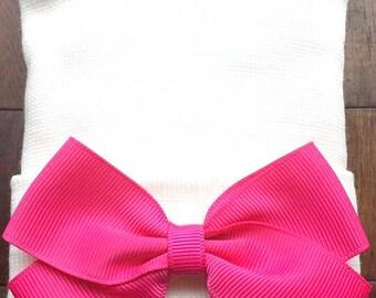 Hot Pink Hospital Hat - Newborn Pink Bow Hospital Hat - Hot Pink Bow Hat - Baby Girl Hat - Newborn Baby Girl Hat -  Hot Pink Baby Hat