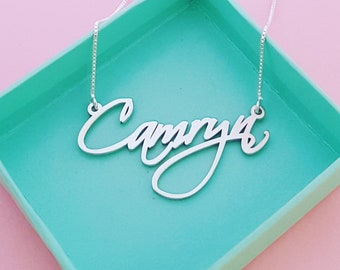 Script Necklace Silver Name Necklace Signature Necklace Any Name Necklace My Name Necklace Camryn Necklace Personalized Jewelry Gift For Her