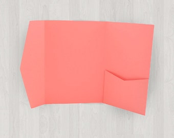 10 Large Vertical Pocket Enclosures - Coral & Peach - DIY Invitations - Invitation Enclosures for Weddings and Other Events