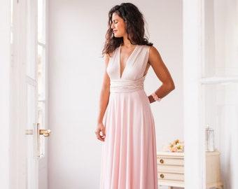 Blush pink infinity dress, Blush bridesmaid infinity dress, Bridesmaid blush pink dress, Rib knit dress blush pink, Long infinity dress pink