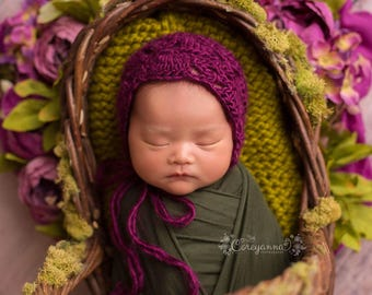 Dark Purple Newborn Bonnet Photography Prop