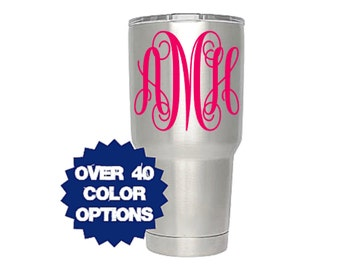 Monogram Decal, Yeti Decal, Tumbler Decal, Vinyl Decal, Car Decal, Yeti Cup Sticker, Macbook Decal, Laptop Decal, Monogram Sticker