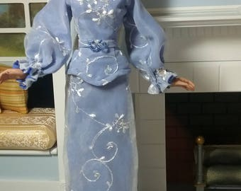 "Periwinkle Blue Embroidered Silk Organza Evening Gown and Belt for Slender 16"" dolls like Gene or Ficon"