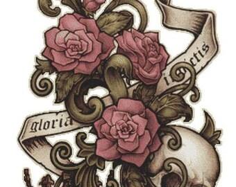 Cross stitch Kit, Gloria Invictus , Medusa Dollmaker, Modern Art Needlecraft Set,  DMC Materials, Counted Cross Stitch, Skull Cross Stitch