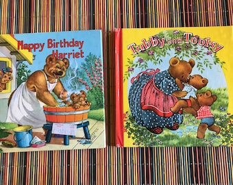 2 Vintage bear books from England 1980s Happy Birthday Harriet Tubby and Tootsy great graphics