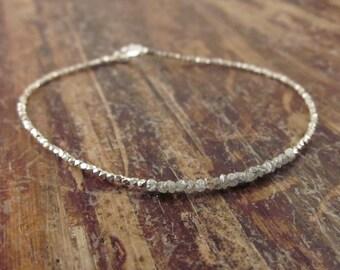 Raw Diamond Bracelet Rough Diamond Bracelets Womens Gift April Birthstone Jewelry Raw Stone Beaded Bracelets Bead Bracelet Girlfriend Gift