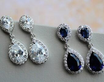Blue  Bridal Earrings, Wedding Earrings, Bridesmaid Earrings, Bridal Jewelry, Crystal Teardrop Earrings, Wedding Jewellery, Rose gold , UK