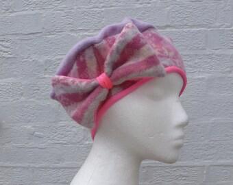 Fairisle Womens beret tam wool hat pink handmade gift wool beret tam womens hat ladies handmade beret tam hat teens girls pink winter hat