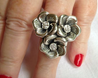 Large Sterling Silver Flower Ring