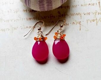 Hot Pink Orange Drop Earrings, Large Pink Jade Earrings, Carnelian Cluster Dangle:  Kiss of the Blood Orange