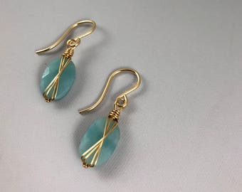 Amazonite Criss-Cross Earrings in Gold-Fill