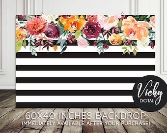 Bridal Shower Backdrop - Birthday Backdrop - Flower Backdrop  - Baby Shower Backdrop - Dessert Table Backdrop - 60x40 Inches - You print