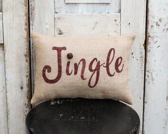 Jingle  pillow burlap pillow cotton pillow 15x10 pillow