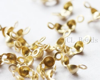 30 Pieces Premium Matte Gold Plated Brass Base Clam Shell Bead Tip - 4mm (433C-I-53F)