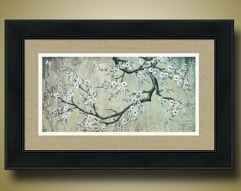 PRINT or GICLEE Reproduction -- Cherry Blossom Tree, Flowered Tree Branch, Dogwood, White Flowers