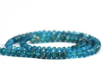 Apatite Micro Faceted Rondelles 15 Neon Blue Semi Precious Gemstone