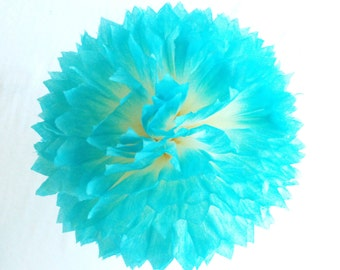 Aqua Party Decoration, Aqua Party Décor, Party Decoration Aqua, Blue Aqua Party Decoration, Blue Tissue Pom Poms, Tissue Paper Pom Poms