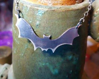Antiqued Sterling Silver Bat! Spooky Halloween or Goth Jewelry! Silver flying bat, silver bat necklace, black bat, scary bat.