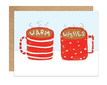 Holiday Card. Warm Wishes. Hot Chocolate. Coco. Winter Season Card. 1pc