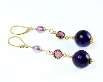 Amethyst and Pearl Earrings, Amethyst Earrings, Long Dangle, February Birthstone, Purple and Gold, Swarovski Crystals