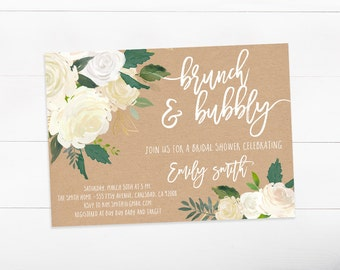Brunch and Bubbly Bridal Shower Invitation, White Flowers, Kraft Paper, Rustic, Wedding Invites (814)