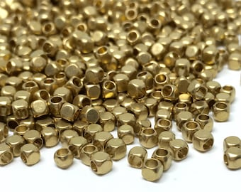 2mm x 2mm Raw Brass Cube Beads - Brass Cube - Cube Beads - Spacer Beads - Brass Tiny Beads